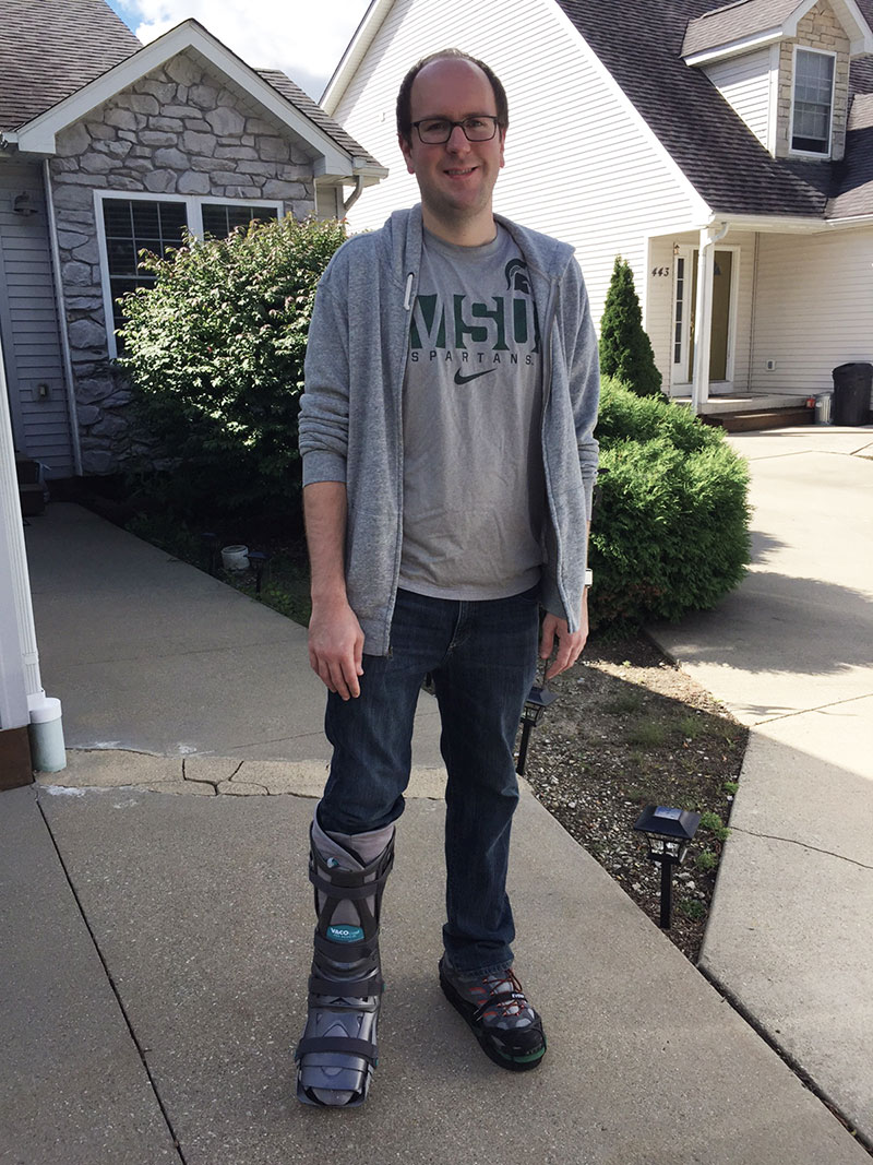Picture of me standing outside home two days after moving into an orthopedic boot
