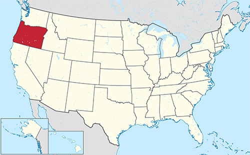 This map, taken without permission from Wikipedia, indicates the location of Oregon within the United States